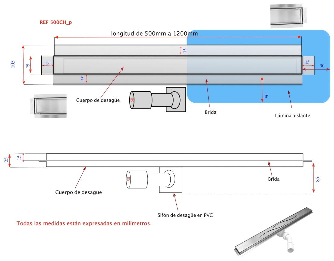 Canaleta lineales para ducha de obra